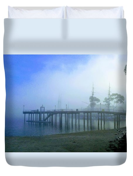 Dana Point Harbor When The Fog Rolls In Duvet Cover