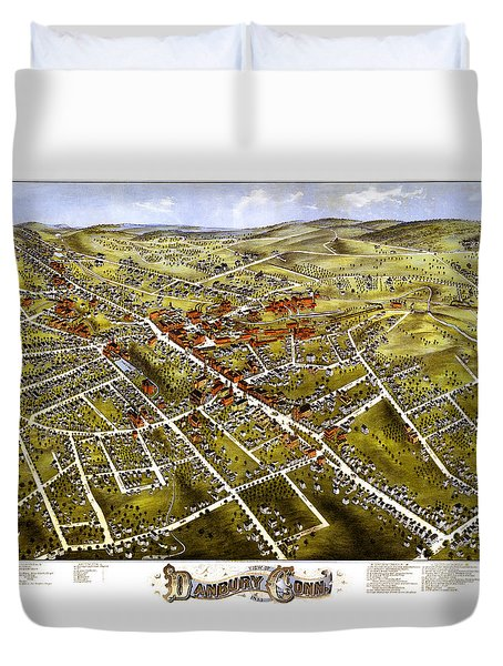 Danbury Connecticut 1875 Map Duvet Cover