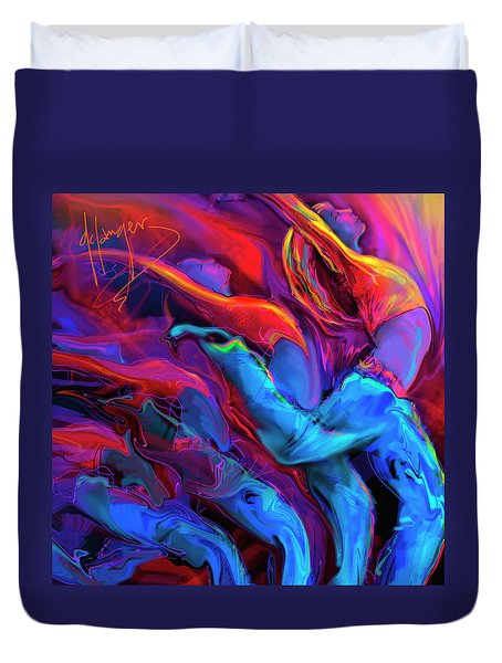 Duvet Cover featuring the painting Dance, Dance, Dance by DC Langer