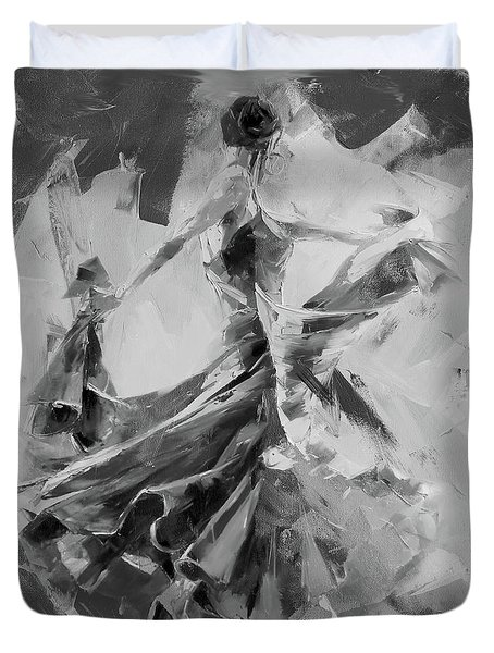 Duvet Cover featuring the painting Dance Flamenco 01 by Gull G