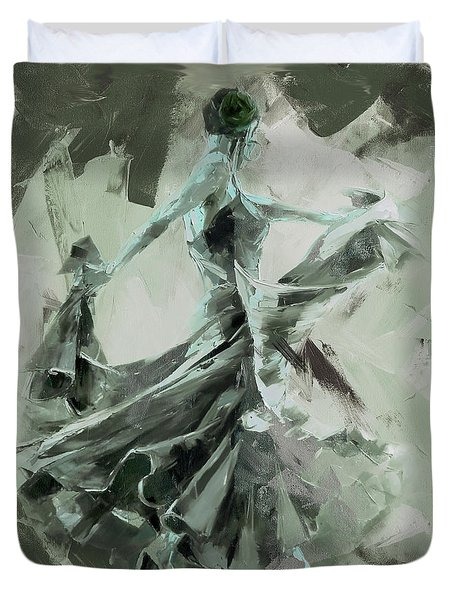 Duvet Cover featuring the painting Dance Flamenco Art  by Gull G