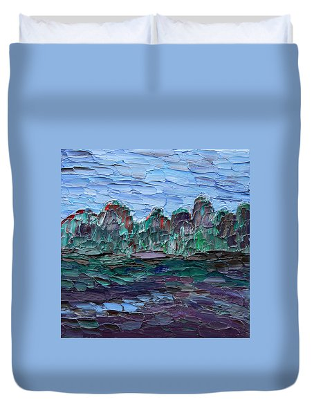 Duvet Cover featuring the painting Dance In The Rain by Vadim Levin