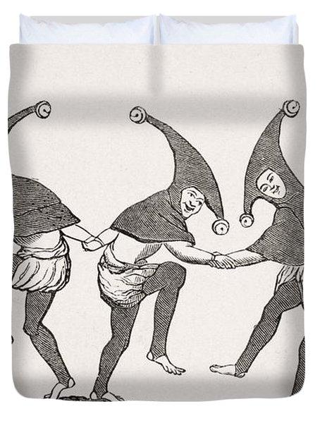 Dance Of Fools. 19th Century Duvet Cover