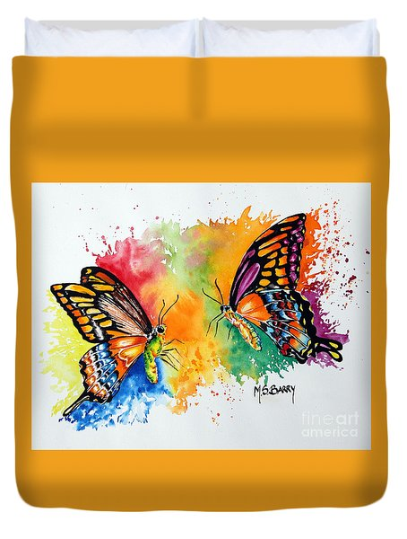 Duvet Cover featuring the painting Dance Of The Butterflies by Maria Barry