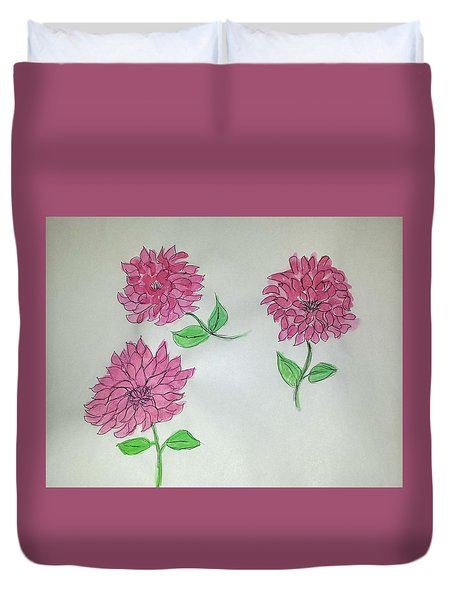 Dance Of The Dahlias Duvet Cover