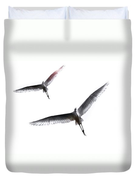 Dance Of The Egrets Duvet Cover