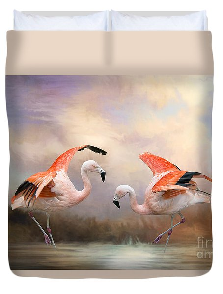 Dance Of The Flamingos  Duvet Cover by Bonnie Barry