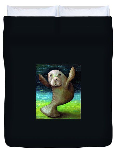 Dance Of The Manatee Duvet Cover by Leah Saulnier The Painting Maniac