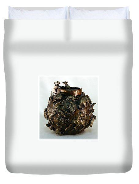 Duvet Cover featuring the sculpture Dance Of The Seasons - Bronze Bowl With Bear Cubs by Dawn Senior-Trask