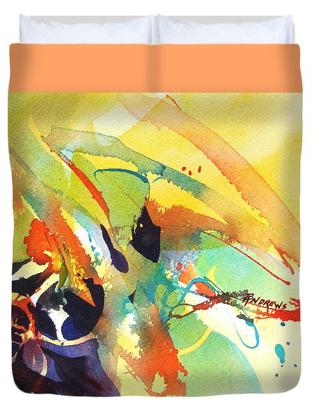 Duvet Cover featuring the painting Dance by Rae Andrews