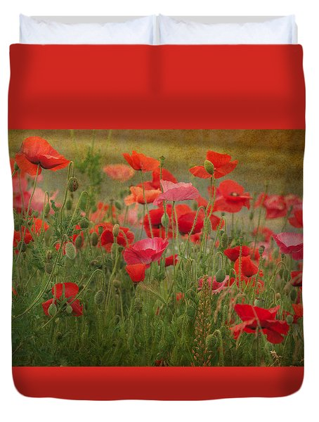 Dance Through The Poppies Duvet Cover by Carolyn Dalessandro
