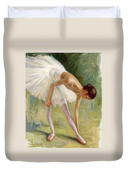 Dancer Adjusting Her Slipper. Duvet Cover