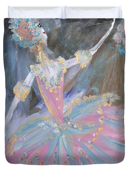 Dancer In Pink Tutu Duvet Cover by Judith Desrosiers
