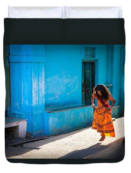 Dancer In The Light Duvet Cover by Marji Lang