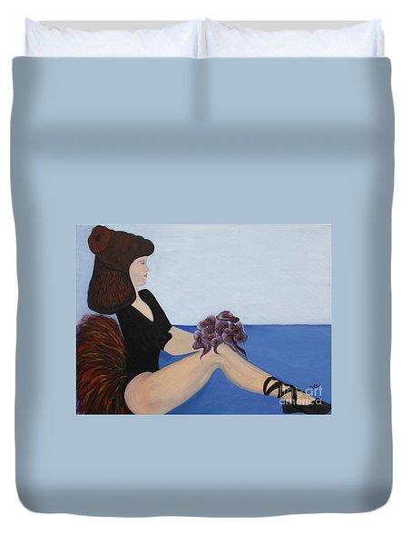 Duvet Cover featuring the painting Dancer With Calla Lillies by Jolanta Anna Karolska