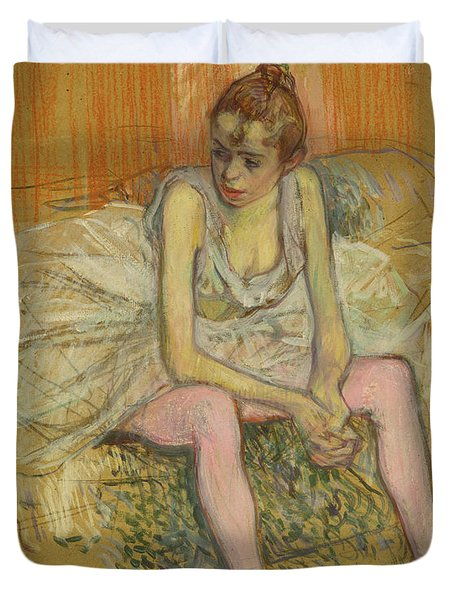 Dancer With Pink Stockings Duvet Cover