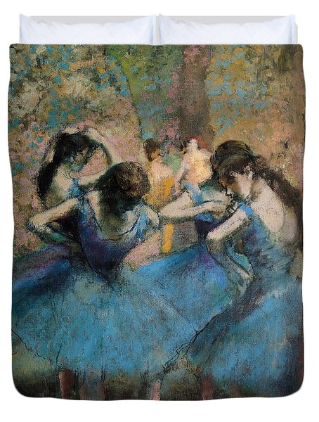 Dancers In Blue Duvet Cover