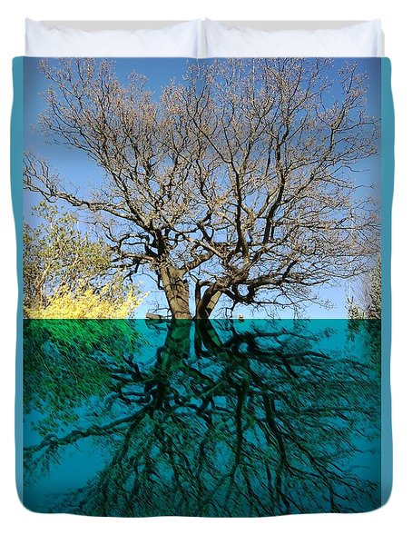 Dancers Tree Reflection  Duvet Cover