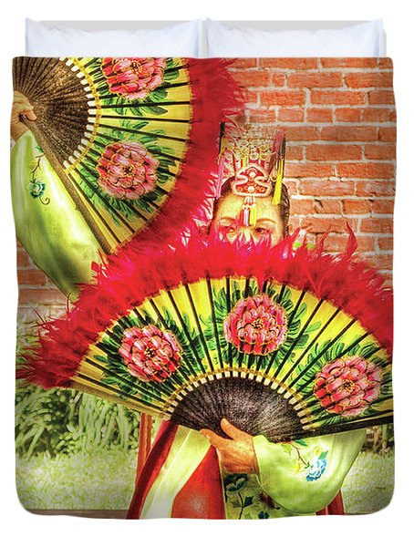 Dancing - The Fan Dance Duvet Cover by Mike Savad