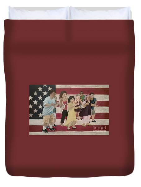 Duvet Cover featuring the painting Dancing Americans by Saundra Johnson
