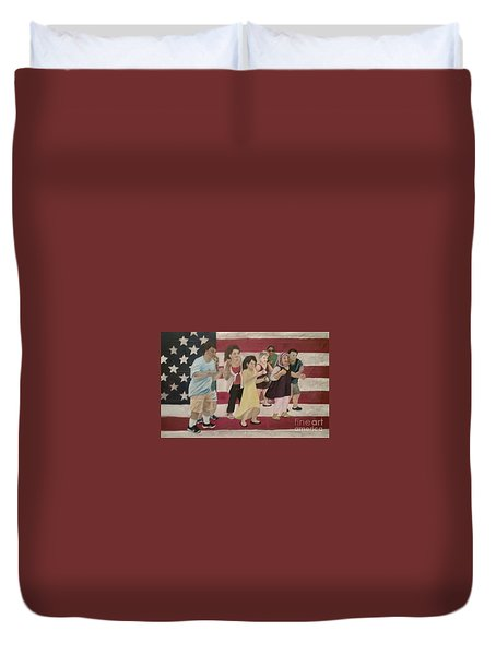 Dancing Americans Duvet Cover by Saundra Johnson
