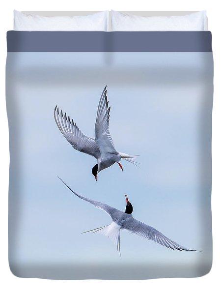 Dancing Arctic Terns Duvet Cover