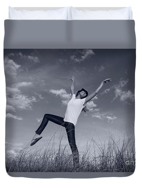 Dancing At The Beach Duvet Cover by Amyn Nasser