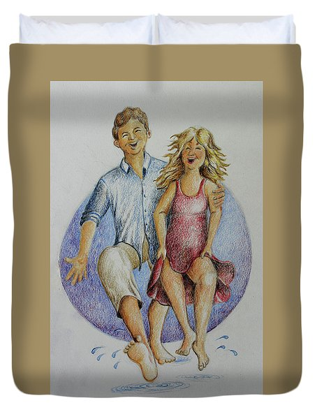 Dancing Barefoot In The Rain Duvet Cover
