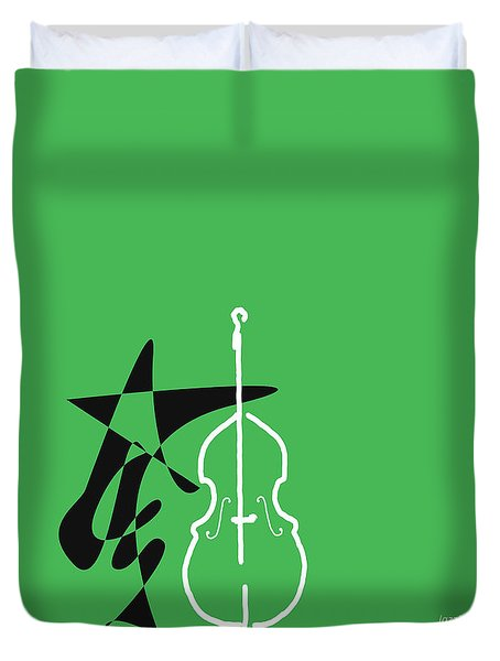 Dancing Bass In Green Duvet Cover