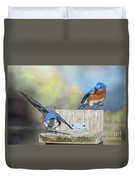 Dancing Bluebirds Duvet Cover by Bonnie Barry