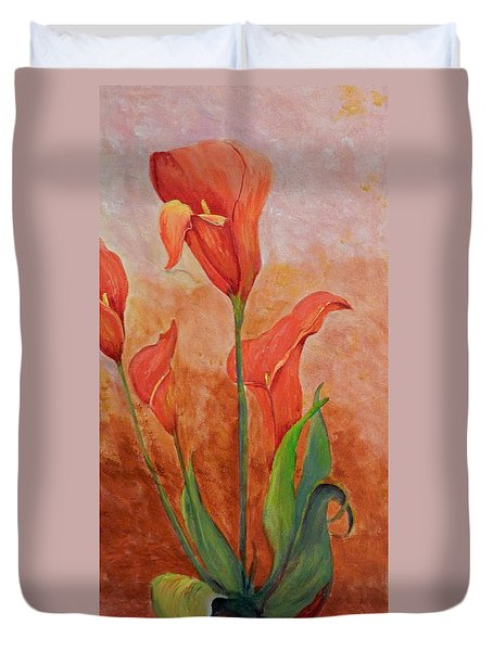 Duvet Cover featuring the painting Dancing Callas by Betty-Anne McDonald