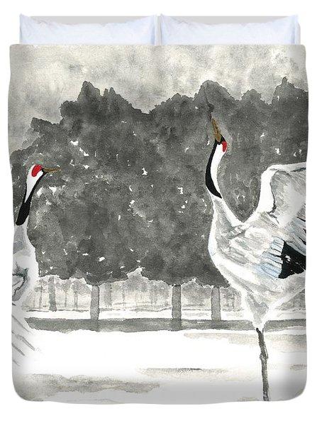 Dancing Crane II Duvet Cover