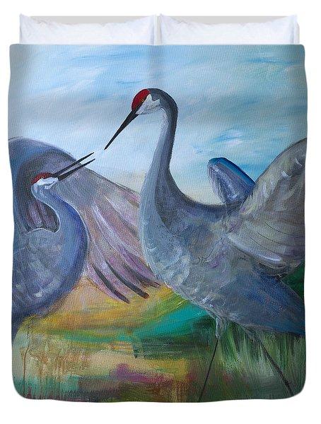 Dancing Cranes Duvet Cover