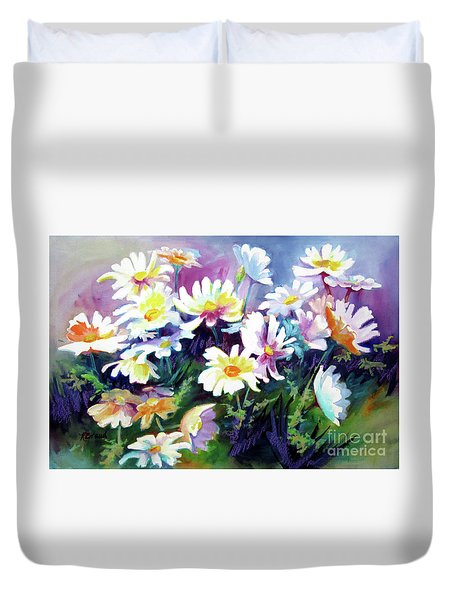 Duvet Cover featuring the painting Dancing Daisies by Kathy Braud