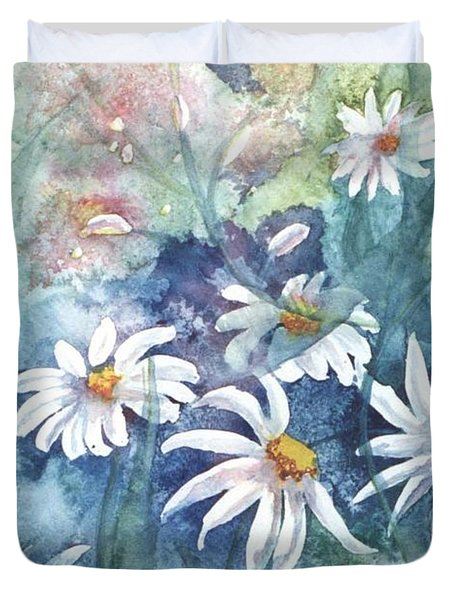 Duvet Cover featuring the painting Dancing Daisies by Renate Nadi Wesley