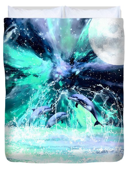 Dancing Dolphins Under The Moon Duvet Cover
