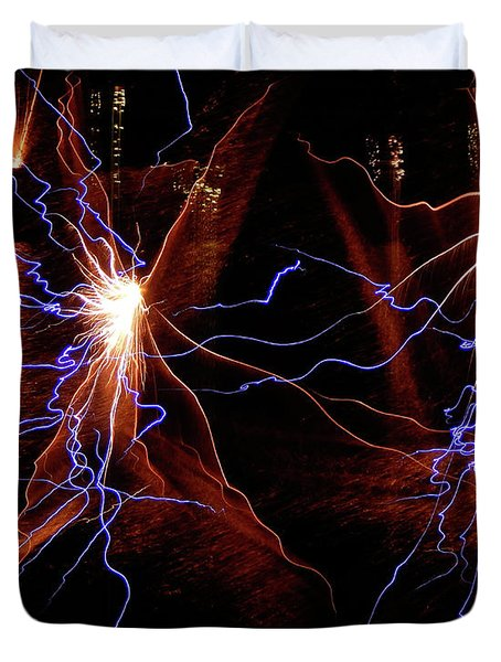 Duvet Cover featuring the photograph Dancing Fireworks #0707 by Barbara Tristan