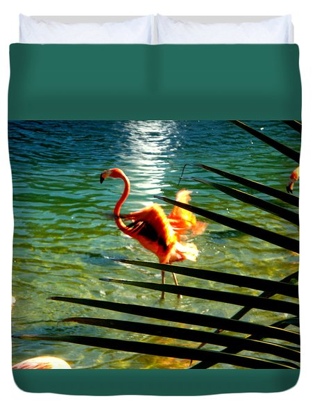 Dancing Flamingo Duvet Cover by Yolanda Rodriguez