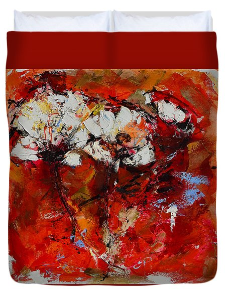 Duvet Cover featuring the painting Dancing Flowers by Elise Palmigiani