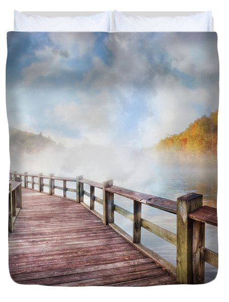 Duvet Cover featuring the photograph Dancing Fog At The Lake by Debra and Dave Vanderlaan