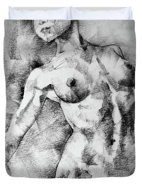 Dancing Girl Drawing Duvet Cover