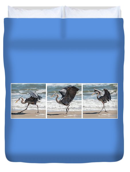 Dancing Heron Triptych Duvet Cover