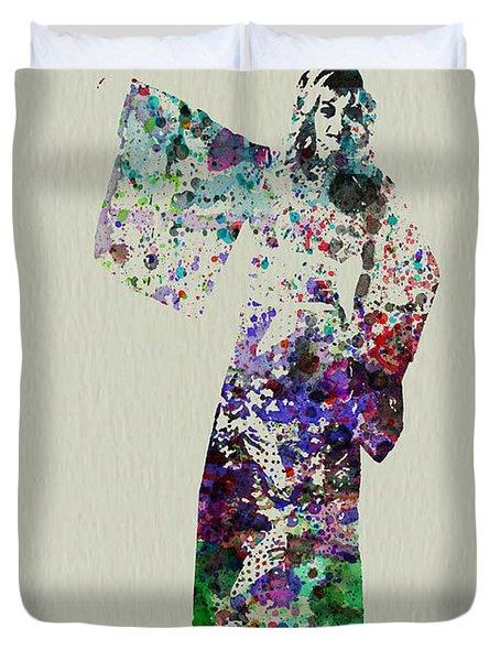 Dancing In Kimono Duvet Cover by Naxart Studio