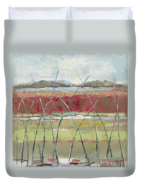 Dancing In The Field Duvet Cover by Becky Kim