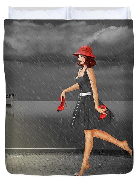 Dancing In The Rain Duvet Cover by Monika Juengling