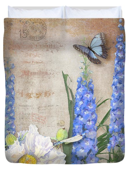Dancing In The Wind - Damselfly N Morpho Butterfly W Delphinium Duvet Cover