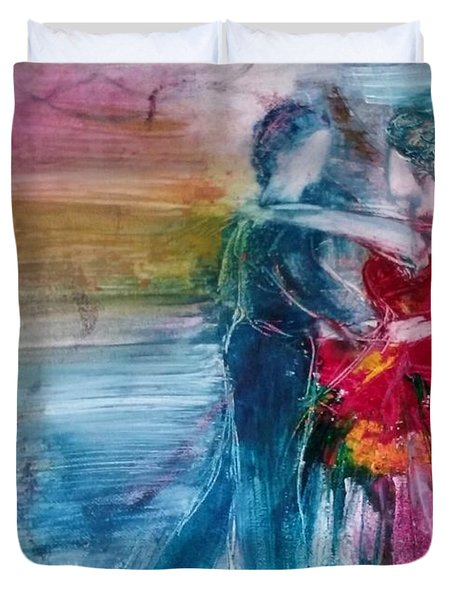 Duvet Cover featuring the painting Dancing Into Eternity by Deborah Nell
