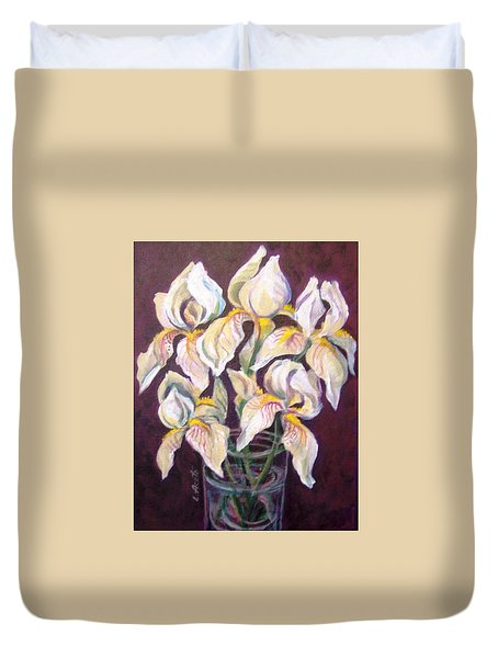Duvet Cover featuring the painting Dancing Iris by Laura Aceto