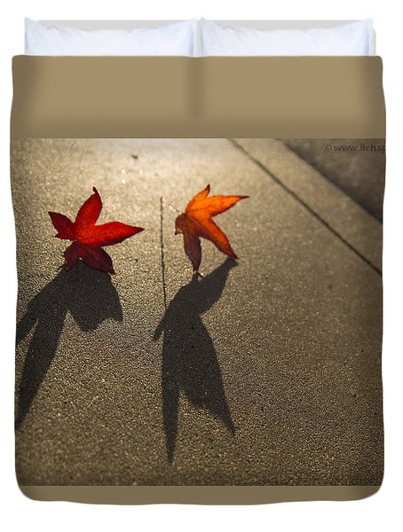 Duvet Cover featuring the photograph Dancing Leaves by Lora Lee Chapman