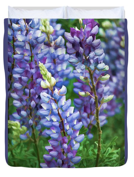 Duvet Cover featuring the photograph Dancing Lupines - Spring In Central California by Ram Vasudev